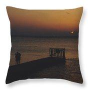 Sunset Couple Throw Pillow