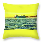 Sunset Cruise On The Ferry Throw Pillow