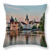 Sunset Cruise Prague Throw Pillow