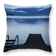 Sunset Dock At Priest Lake Throw Pillow