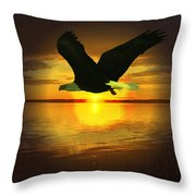 Sunset Eagle Throw Pillow