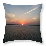 Sunset Eagle Mountain Lake Throw Pillow