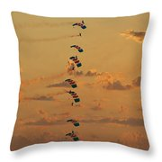 Sunset Falcons Stack Formation Throw Pillow