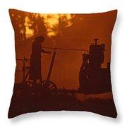 Sunset Female Amish Farmer Throw Pillow
