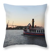 Sunset Ferry In Savannah Throw Pillow