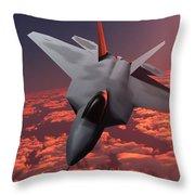 Sunset Fire F22 Fighter Jet Throw Pillow