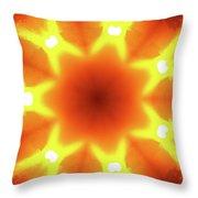 Sunset Firewheel Kaleidoscope Throw Pillow