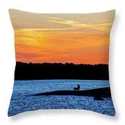 Sunset Fisherman  Throw Pillow