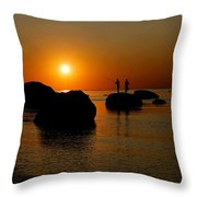 Sunset Fishing Throw Pillow