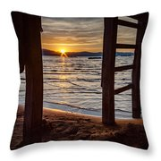 Sunset From Beneath The Pier Throw Pillow