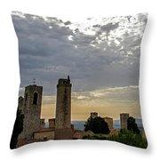 Sunset From San Gimignano Throw Pillow