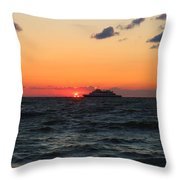 Sunset From The Ferry Throw Pillow