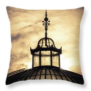 Sunset Glasshouse In Winter Throw Pillow
