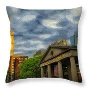 Sunset Gleam Of Custom House Tower Throw Pillow