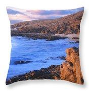 Sunset Glow Along Pacific Coast Throw Pillow