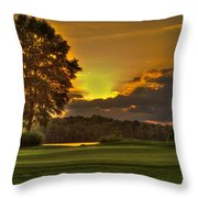 Sunset Hole In One The Landing Throw Pillow