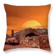 Sunset House Throw Pillow