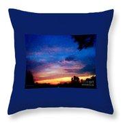 Sunset In A Deep Blue Sky Line Throw Pillow
