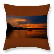 Sunset In Amazon River Throw Pillow
