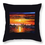 Sunset In Barcelona Throw Pillow
