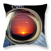 Sunset In Bell Of Sax Throw Pillow