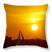 Sunset In Charleston South Carolina Sailboat Throw Pillow