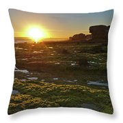 Sunset In Gale Beach. Albufeira, Portugal Throw Pillow