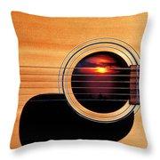Sunset In Guitar Throw Pillow