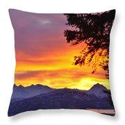 Sunset In Homer Alaska Throw Pillow