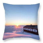 sunset in Ilulissat, Greenland Throw Pillow