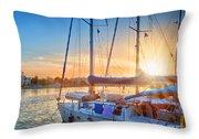 Sunset In Kos Throw Pillow
