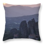 Sunset In Meteora Throw Pillow