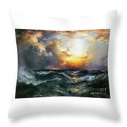 Sunset In Mid-ocean Throw Pillow