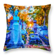 Sunset In Pere Lachaise Abstraction Throw Pillow