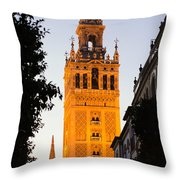 Sunset In Seville - A View Of The Giralda Throw Pillow