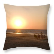 Sunset In Summertime On Beaches Throw Pillow