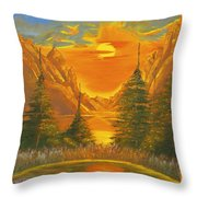 Sunset In The Canyon 1 Throw Pillow