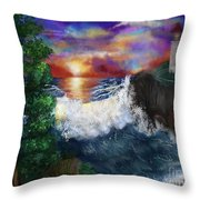 Sunset In The Cove Throw Pillow
