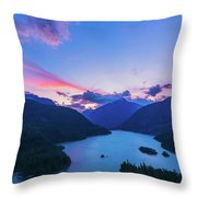 Sunset In The Diablo Lake, Wa Throw Pillow