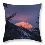 Sunset In The Mountains Throw Pillow