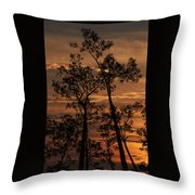 Sunset In The Pine Woods Throw Pillow