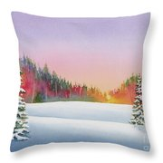 Sunset In The Pines Throw Pillow