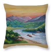 Sunset In The River Throw Pillow