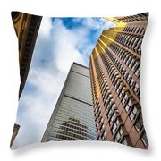 Sunset In The Urban Canyon Throw Pillow