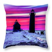 Sunset In Winter At Grand Haven Lighthouse Throw Pillow