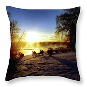 Sunset In Winter Throw Pillow