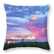Sunset In Yellowstone Throw Pillow