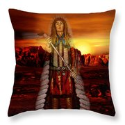 Sunset Indian Chief Throw Pillow