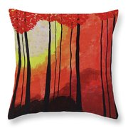 Sunset Into The Forest Throw Pillow