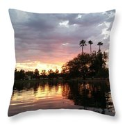 Sunset Island In Chaparral Lake Horizontal  Throw Pillow